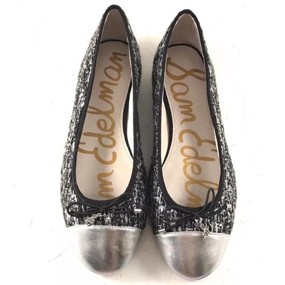 26206cdc54a2ec NEW Sam Edelman Black Silver Tweed Ballet Flats. M 5b4989c63e0caa910db496a5